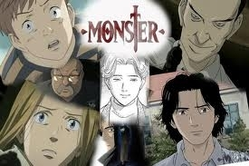 I got the perfect one How about Naoki Urasawa's MONSTER, it's about a little boy and his twin sister, yes this sounds normal but's it's far from it. Johan the twin boy kills his and his sisters Anna adopted parents, he berkata that the monster came and he had to do it, then he tells his sister to shoot him in the head then throw the gun out the window. soon after the police arrive and take johan who is barley alive and Anna to the Hospital. A doctor Named Kenzo Tenma saves Johan, then him and his sister disappear form the Hospital after 3 doctors were murder, 9 years later Johan returns and kills a patent of Dr. Tenma's and tell Tenma he could never bukit, hill a man who has saved his life, then he disappears again. Tenma decides to go after Johan And on the way he learns of Anna's and Johan's Pass, and why lebih people end up dead. Johan is the one in the middle.