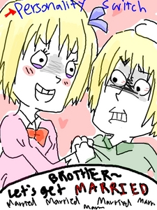 Leichenstien and Switzerland from Hetalia... Its just a drawing from somebody and I found the picture on fanpop... Why does she have to switch persinalities with Belarus? Poor Switzerland...