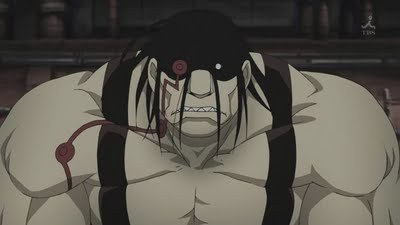 Sloth from Fullmetal Alchemist Brotherhood. I always thought this guy was really creepy 0_0