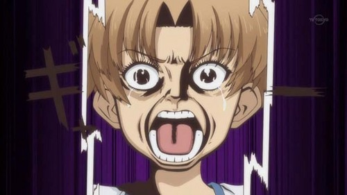 Well, I suppose this could also be considered scary but if te watched it te would know. I thought it was funny. Baka to Test. One of the many faces that made me laugh.