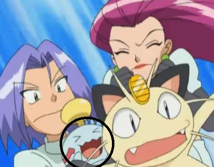A funny screencap okay...here's one! Chirean/Chimecho with Sonans/Wobbuffet's face! Yep this was taken directly from the anime oleh me XD