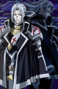 Father Able Nightroad. A priest who turns into a crusnik , a vampire who feeds off other vampiers. From Trinity Blood.