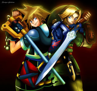 I'm going to be a rebel, lol, and have Sora in the pic as well. I upendo THE LEGEND OF ZELDA AND KINGDOM HEARTS!!!!!!!!!!!!!!!!!!!!!!!