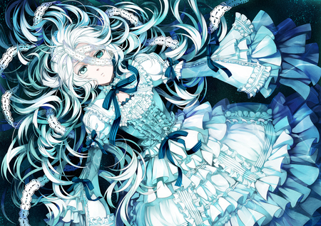 Sorry, my picture probably won't be much help, but oh well.... I couldn't find any girl with white and blue hair, but I did find one with blue(ish) eyes and blueish white hair. Hope it helps.