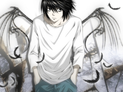 Here's L Lawliet from Death Note ^^ This is only a fanart, but I think there's really an Angel inside him :)
