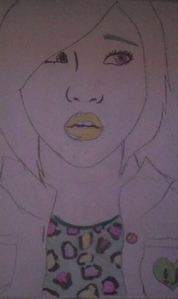 It's still unfinished, but here is a sketch I did of Minzy from 2NE1 a while back. (btw sorry about my crappy camera :P )