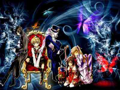 pandora hearts is a good anime its not been dubbed yet but its so werth watching durarara is also a grate anime it has been dubbed and i think anda will cinta it the foto is from pandora hearts