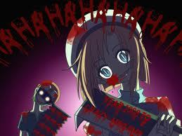 here something i guess anda could count as gory & creepy o.o rena & mion from higurashi