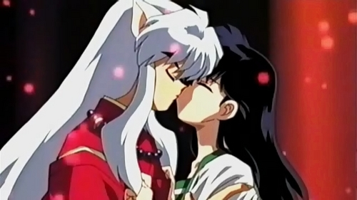 Kagome kissing Inuyasha and preventing him from becoming a demon and Kaguya's slave (ewww...)