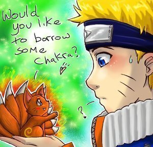 naruto and the Kyuubi. XD