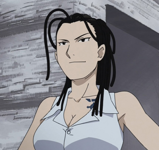 Izumi Curtis, FMA - although I'm not physically violent, i do have a temper. I can be a little out spoken at times an I'm not much into girly things (course u probably got that por the stuff i post) lol