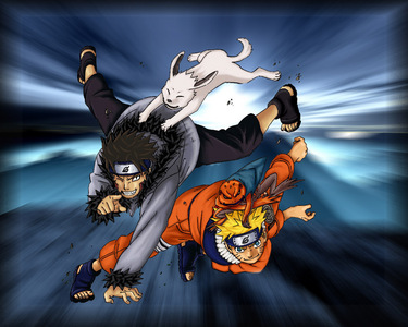 Naruto and Kiba they both have a spiky hair style! <3 <3 <3