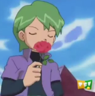 An animê Character Holding A Flower/Flowers..okay here's a picture of Shuu-kun (Drew in a few dubs) from Pokemon with a rose!