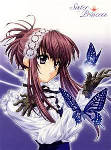 Yes,this is from an anime called 'Sister princess' and the name of the character is 'chikage'.This pic is chikage of sister princess which ia an anime and a game.This anime is pretty mch about a guy who has 13 different little sisters,each whom adore their big brother.And there are two other guys,one who is after the main characters sisters and one who is obsessed with main character.The story starts when the main character fails to get into the school he wants to go to because he skipped one question,causing him to fill in the rest of the test wrong.Sohe goes to this school on an island and it happens that all the appartments are filled except one,the one where he meets his sisters and is going to live with. Chikage is the most mysterious one amoung the 13 sisters.And she is my favourite character.