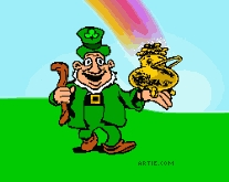 da using a ladder. And a leprechaun with a birra belly and a full, complete composition of a pot of gold. :) And a video camera. ^_^ Oh, and rainbows of course!!!!!! =D
