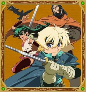 I got a some good ones Deltora Quest, one of my fav's has fighting but no blood when they stab some one they vanish because there not human, it's also a mystery and me and my friens made a vary good club out of this عملی حکمت because of the riddles آپ should check it out Also Avatar:the last airbender is good too pic from Deltora Quest