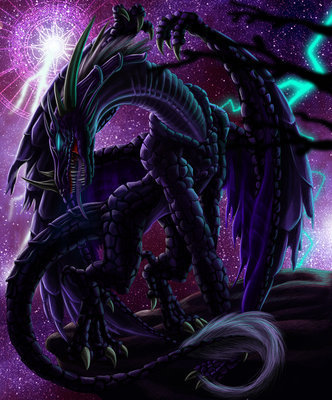 Black Dragon of the Darkness a huge dragon with blue eyes with power of the storm and darkness kinda of a guardian of the darkness realm