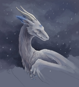 I'd be a dragon like this with fur! With a pretty white and blue combination like so. I'd also be able to change size and be a shoulder pet if I wanted. I'd say I wouldn't be very mean actually unless I was protecting someone of something. Not all humans are bad after all. I'd also have the ability to detect forms of life around me through any barrier. :3 My abilities are meer defensive I suppose than offensive XD.