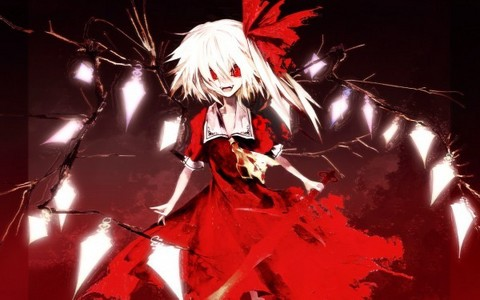 If I ever saw that, I would run. Flandre Scarlet from Touhou (not an anime, but I thought this would work.