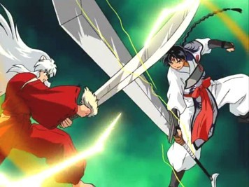 Both InuYasha (Left) and Bankostu (Right) have long hair and they're both handsome!
