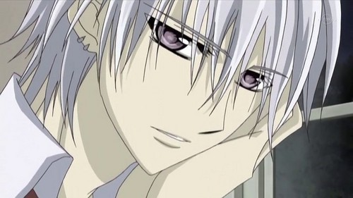 Zero from Vampire Knight. They are like a silver purple. :)