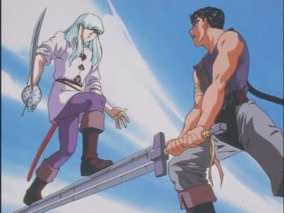 Griffith and Guts from the anime Berserk.