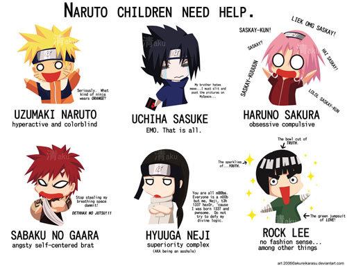 Because 나루토 kids need help. In case 당신 can't read it, it says: Uzumaki Naruto: Hyperactive and Colorblind. (Seriously. What kind of ninja wears ORANGE?) Uchiha Sasuke: EMO. That is all. (My brother hates meeee...I will slit and post the pictures on myspace....) Haruno Sakura: Obsessive Compulsive. (LIEK OMG SASKAY! SASKAY-KUN! SASKAU-KUUUUN! LOLOL SASKAY-KUN! Saskay-kun?) Sabaku no Gaara: Angsty Self-centered Brat. (Stop stealing my breathing 우주 dammit! DETHHAX NO JUTSU!!1) Hyuuga Neji: Superiority Complex--AKA being an asshole. (You are all n00bs. Everyone is a n00b but me, Neji, t3h 1337 hax0r, 'cause I was born 1337 and pwnsome. Do not defy my divine logic.) Rock Lee: No fashion sense....Among other things. (The sparklies of....YOUTH. The bowl cut of TRUTH. The green jumpsuit of LOVE!)
