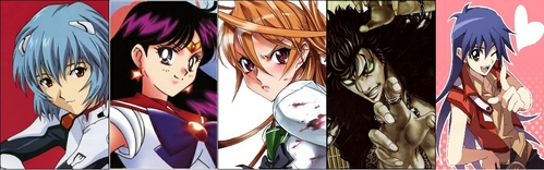 In order: Rei Ayanami from Evangelion Rei Hino/Sailor Mars from Sailor Moon Rei Miyamoto from Highschool of the Dead Rei from Hokuto No Ken Rei Saotome from Yu-Gi-Oh! GX
