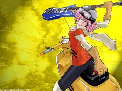 haruko she uses a гитара like a sword, a gun and used it to knock a meteor back into Космос :D