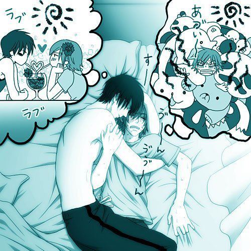 sleeping... and dreaming XD (hiroki and nowaki from junjou romantica by the way)