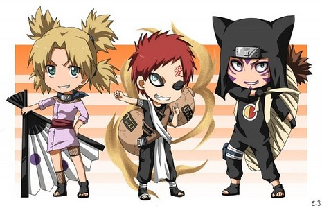 The Sand Siblings from Naruto.