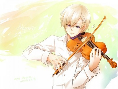 Norge playing the violin, of which there are about 6 on this question. .__.