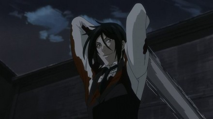 This one! Sebastian from Black Butler he is a pretty awesome guy but re watching episodes yesterday, I remembered 锄, 锄头 heartless he can be! Kill with no mercy!