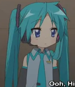 All righty! Here's a picture of Kagami-chan from Lucky звезда cosplaying as Hatsune Miku from Vocaloid!x)