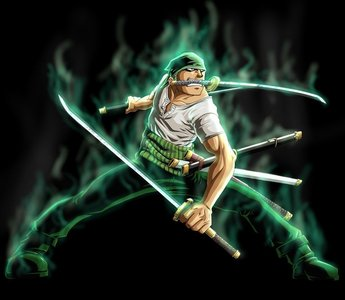my 最喜爱的 color is green and Roronoa Zoro's hair and that band around his waist is green so i would have to say him and he is a BADASS