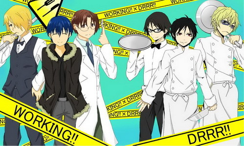 Boys from Working!! and Durarara!! (Дюрарара!!!) as each other :D Btw, as far as voice actors go: souta = doctor guy (forgot his name) souma = izaya Yesh. They do have the same voice actors :3