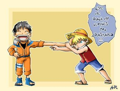 Luffy from One Piece as Наруто (from Naruto, lol) and vise versa! :D