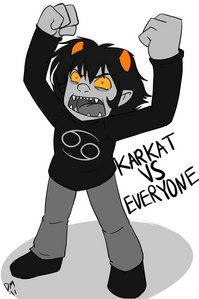 I'm a cancer, so I'm Karkat, and I am pretty freaking happy with THAT! v story of my life man.