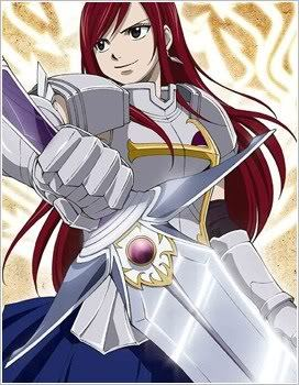 Erza Scarlet with her armour and sword