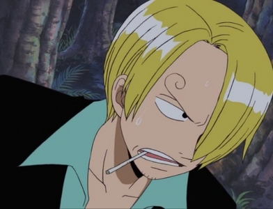 Hmm..Well There's Sanji from One Piece he usually has his cigar in his mouth.