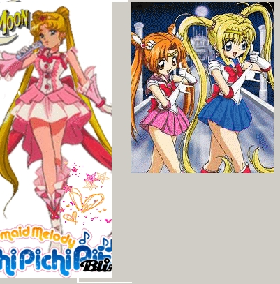 Lucia and Seira from Mermaid Melody as Sailor Moon, and vice versa!