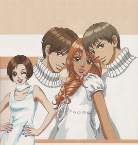 桃子 Girl i think that momo and toji should have ended up together in the end but i only read the book so who knows dark hair guy: kairi light hair guy: toji dark haired girl:sae light hair, tan skin: MoMo :) :D :)