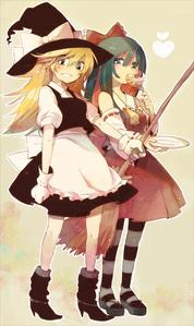 Panty and чулок Cosplaying as Marisa and Reimu