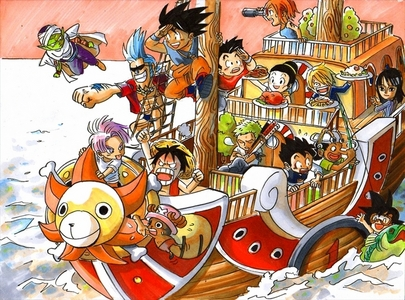 Here is a crossover of One piece and DBZ.
