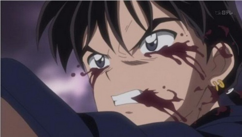 All righty then here's a picture of Miroku-kun from InuYasha with Blood..yeah it's not a happy sight is it.