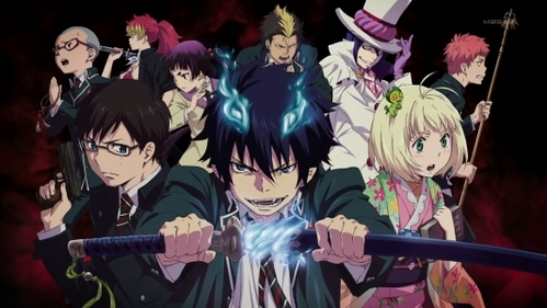 I would recommend Fullmetal Alchemist (both versions), D. Gray Man, and Ao No Exorcist (picture below).
