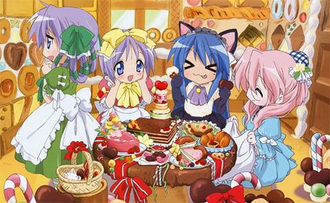 kagami, tsukasa, miyuki and konata