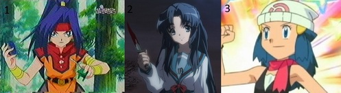 Mine are 1.Mariam (team Saint Shields) in Beyblade- V force. I loved that anime!! 2. Ryoko Asakura from The Melancholy of Haruhi Suzumiya. I wonder, no one noticed her! I Cinta Melancholy very much, but I don't like her. 3. Dawn from Pokemon. I don't like Pokemon and I like Misty lebih than her, but I knew her!