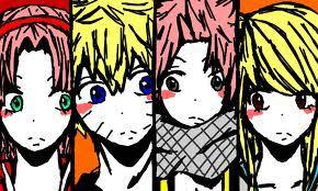 Uzumaki naruto and Haruno Sakura & Natsu 'Salamander' Dragneel and Lucy Heartfilia