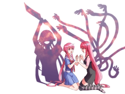 Yuno Gasai from Future Diary and Nyuu/Lucy from Elfen Lied would be best 老友记 and partners in crime when they both go off killing people. Put these two together in an 日本动漫 and 你 will have a blood bath 日本动漫 show.